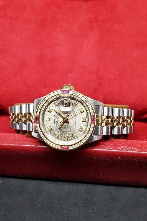 Rolex Oyster Perpetual 10PT Diamonds Grey Computer Ladies Datejust REF: 69173