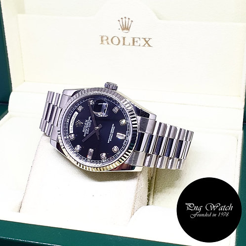 Rolex Oyster Perpetual 18K White Gold Black Diamonds Day-Date REF: 118239