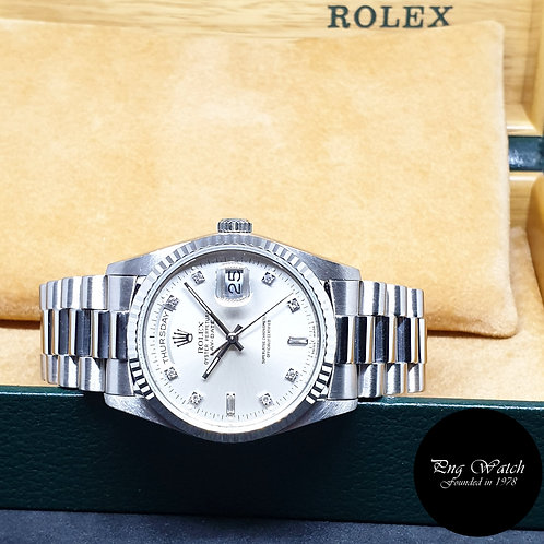 Rolex Oyster Perpetual 18K White Gold Diamonds Day-Date REF: 18239