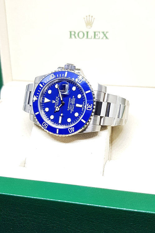 """Rolex Oyster Perpetual 18K White Gold """"SMURF"""" Submariner Date REF: 116619"""
