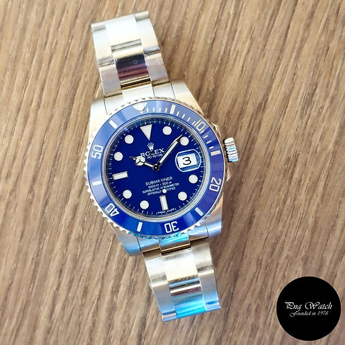 """Rolex Oyster Perpetual 18K White Gold """"SMURF"""" Blue Submariner REF: 116619 (2)"""