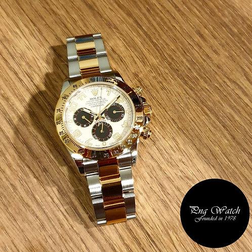 Rolex 18K Half gold Panda Cosmograph Daytona REF: 116523 (Overseas Set)(2)
