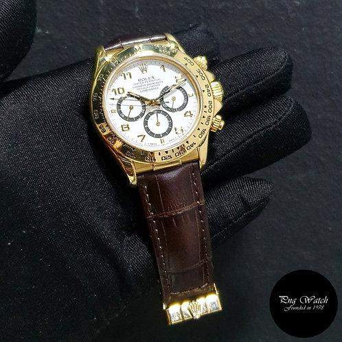 "Rolex 18K Yellow Gold Zenith Mvt ""Inverted 6"" White Arabic Daytona 16518 (2)"