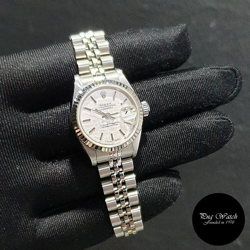 Rolex Oyster Perpetual Silver Linen Ladies Datejust REF: 79174 (2)