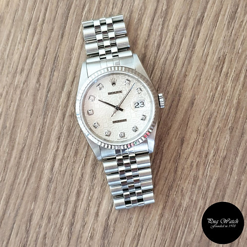 Rolex Oyster Perpetual 10PT Diamonds Silver Computer Datejust REF: 16234 (2)