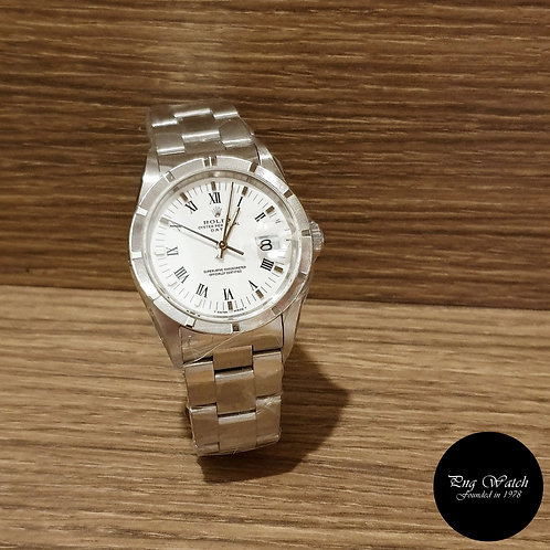 Rolex 34mm Oyster Perpetual White Roman Date REF: 15210 (2)