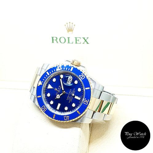 Rolex 18K Half Gold Ceramic Sunburst Blue Submariner Date REF: 116613LB (2016)