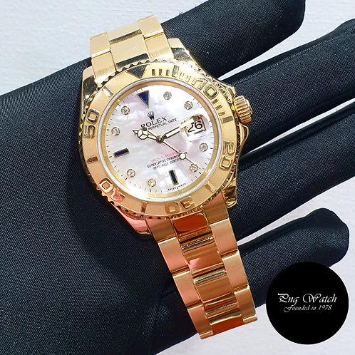 Rolex 18K Yellow Gold MOP Serti Diamonds 40mm Yachtmaster REF: 16628 (2)