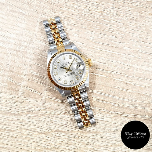 Rolex OP 18K Half Gold Grey Computer 26mm Ladies Diamonds Datejust REF: 69173 (2