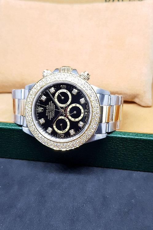 Rolex 18K Gold and Steel Zenith Daytona with Black 8PT Diamonds REF: 16523