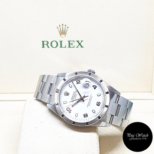 Rolex Oyster Perpetual Engine Turned Bezel White Arabic Date REF: 15210 (2005)