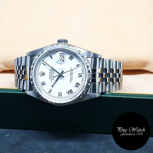Rolex Oyster Perpetual White Small Roman Datejust REF: 16200