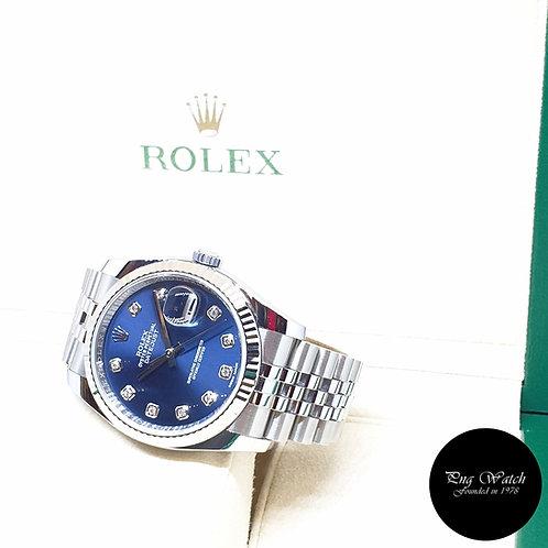 Rolex Oyster Perpetual 10PT Big Diamonds Blue 36mm Datejust REF: 116234 (2018)