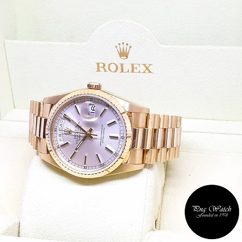 Rolex Oyster Perpetual 18K Yellow Gold Silver Indexes Day-Date REF: 18238 (E)