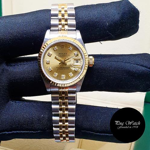 Rolex 18K Half Gold 26mm Ladies Champagne Big Diamonds Datejust 69173 (2)