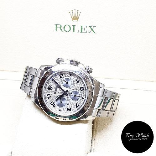 Rolex Oyster Perpetual 18K White Gold Pave Diamonds Daytona REF: 116509 (M)