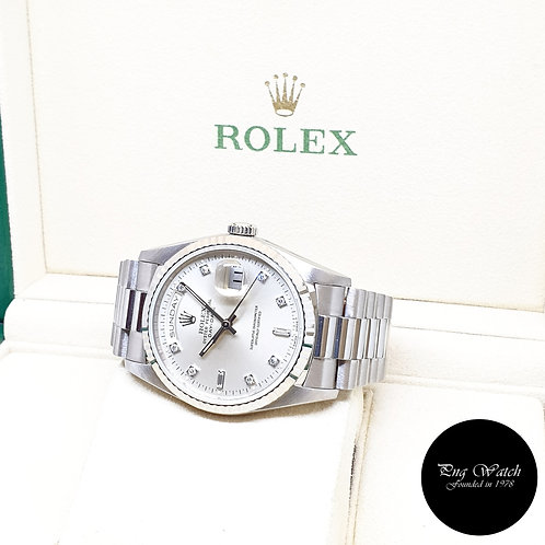 Rolex Oyster Perpetual 18K White Gold Silver Diamonds Day-Date REF: 18239 (S)