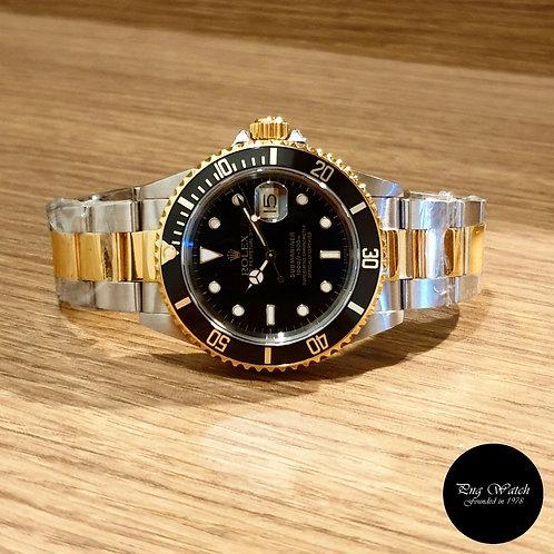 """Rolex 18K Half Gold """"Swiss Dial"""" Black Submariner REF: 16613"""