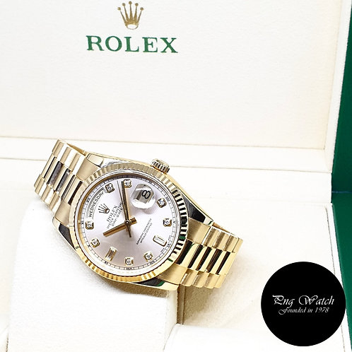 Rolex Oyster Perpetual 18K Yellow Gold Silver Diamonds Day-Date REF: 118238 (P)