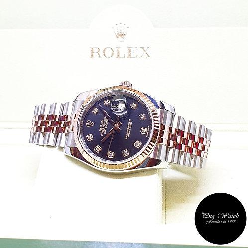 Rolex OP 18K Half Rose Gold 36mm Black Diamonds Datejust REF: 116231