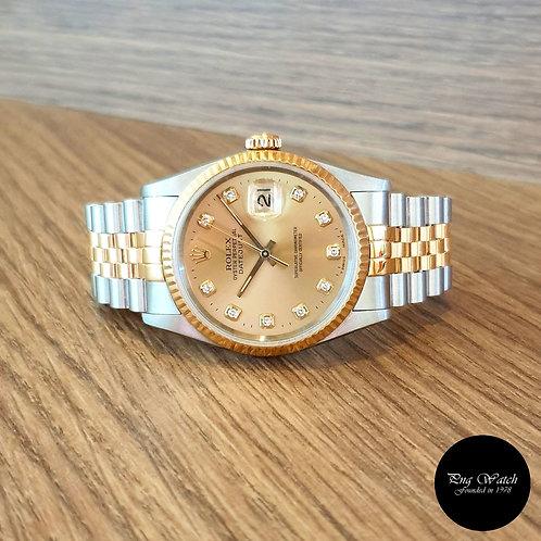Rolex 18K Half Gold Champagne Diamonds Datejust REF: 16233