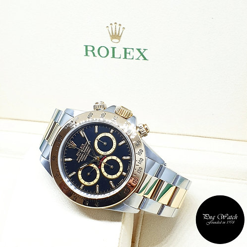 "Rolex 18K Half Gold ""Inverted 6"" Zenith Mvt Black Indexes Daytona REF: 16523"