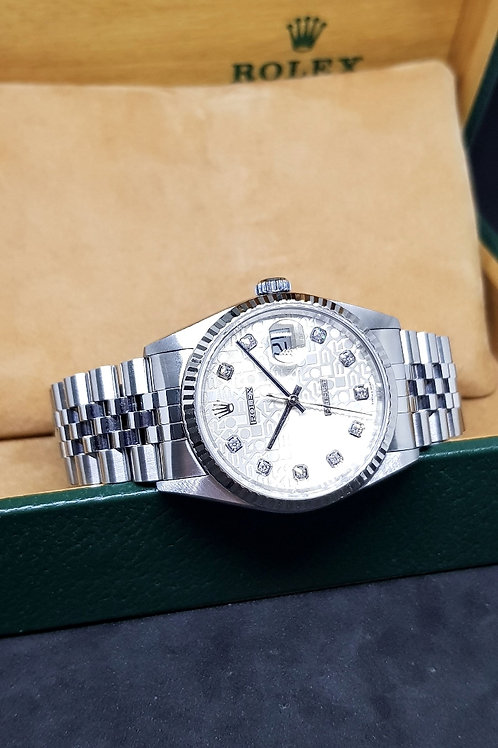 Rolex Oyster Perpetual Silver Computer 10PT Diamonds Datejust REF: 16234