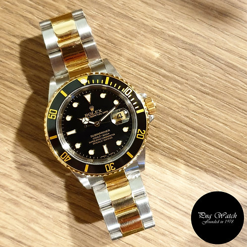 Rolex Oyster Perpetual 18K Half Gold Black Submariner (D Series) REF: 16613 (2)