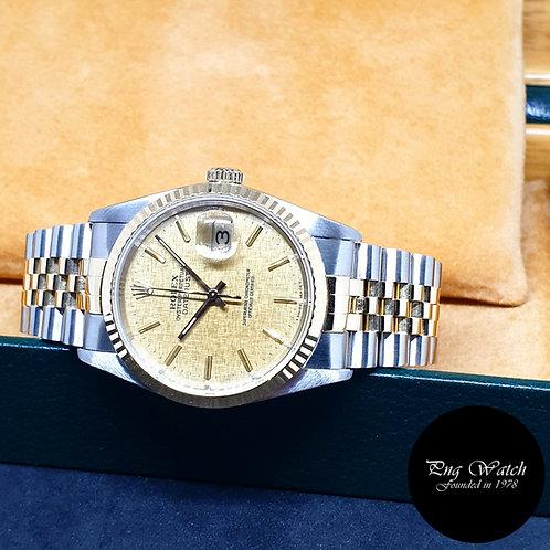 Rolex 18K Half Gold Champagne Textured Dial Datejust REF: 16233