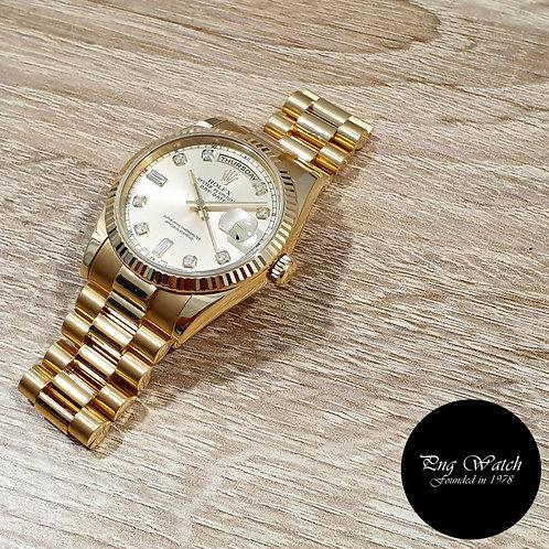 Rolex OP 18K Yellow Gold Silver Diamonds Day-Date REF: 118238 (P)(2)