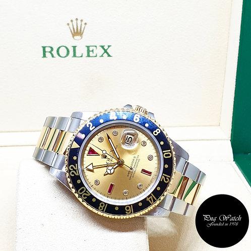 Rolex 18K Half Gold Tritium Serti Diamonds GMT Master REF: 16713