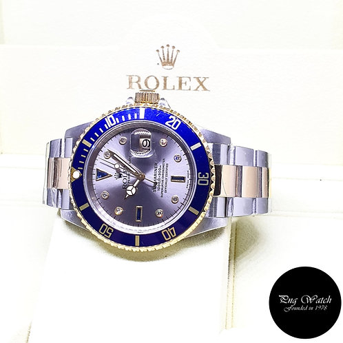 Rolex 18K Half Gold Grey Serti Diamonds Submariner REF: 16613