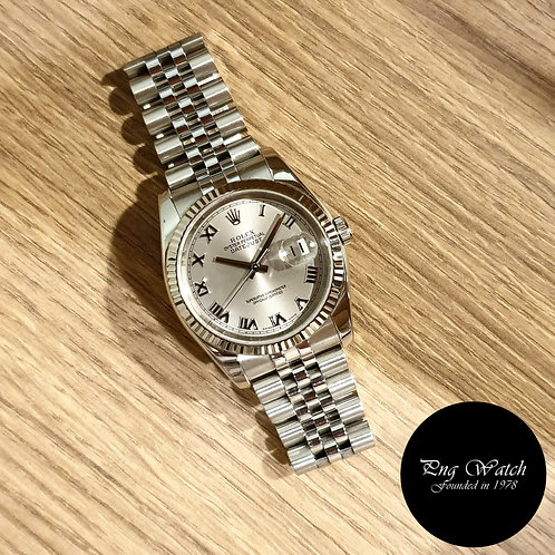 Rolex Oyster Perpetual Silver Roman Datejust REF: 116234 (2)