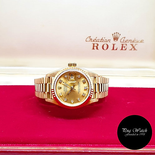 "Rolex 18K Yellow Gold Champagne Diamonds 26mm Ladies ""Queen"" Datejust REF: 69178"