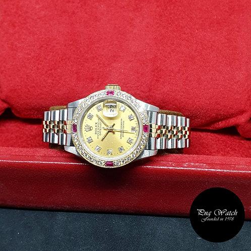 Rolex Oyster Perpetual 18K Half Gold Champagne Diamonds Datejust REF: 69173