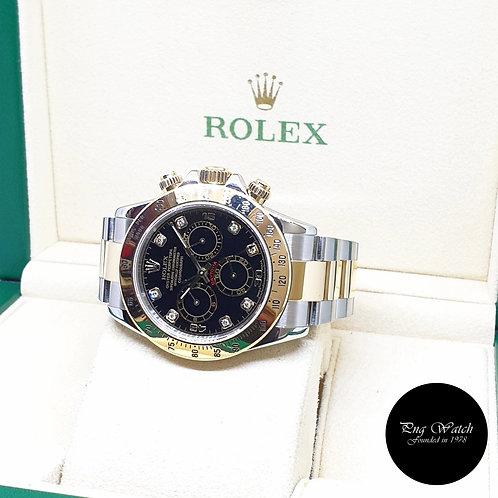 Rolex Oyster Perpetual 18K Half Gold Black Diamonds Daytona REF: 116523 (Y)
