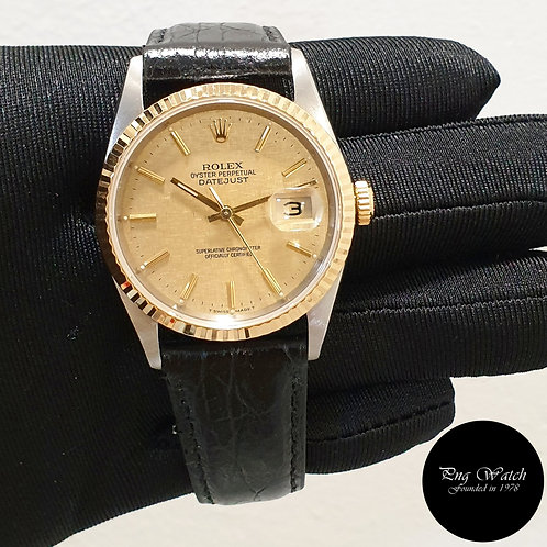 Rolex Oyster Perpetual Champagne Indexes Datejust on Leather REF: 16233 (2)