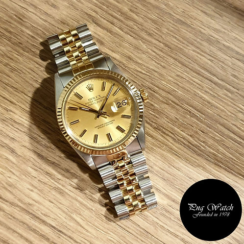 Rolex Oyster Perpetual Half Gold Champagne Datejust REF: 16013 (2)