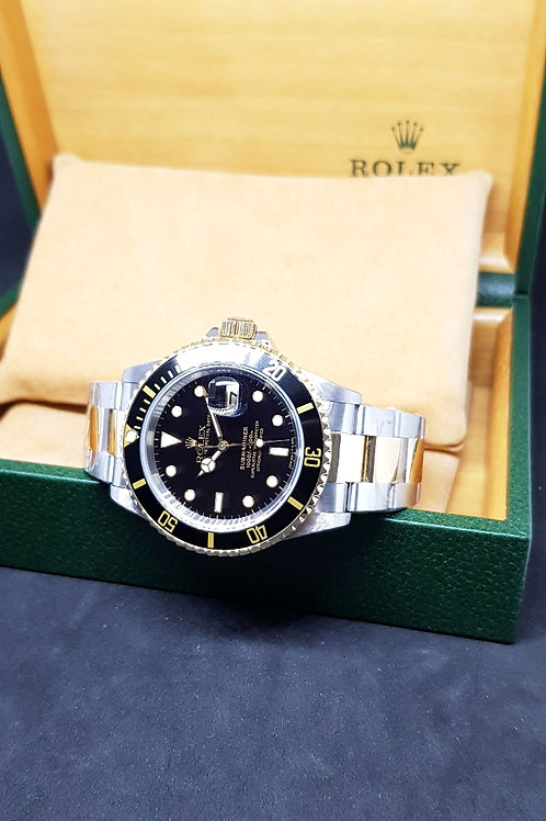 Rolex Oyster Perpetual 18K Half Gold Black Submariner Date REF: 16613