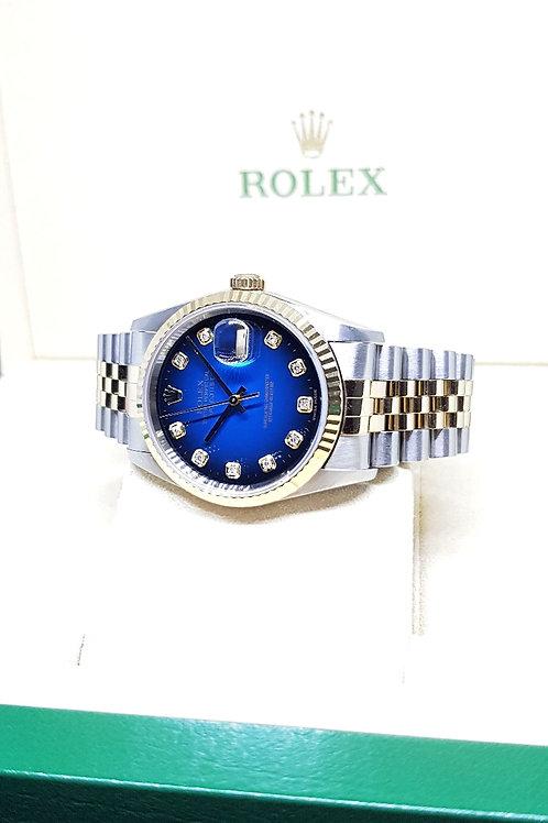 Rolex 18K Half Gold Blue Ombre 10PT Diamonds Datejust REF: 16233