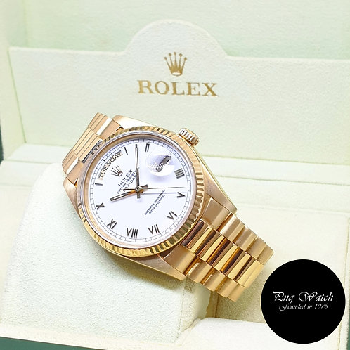 Rolex Oyster Perpetual 18K Yellow Gold White Roman Day-Date REF: 18038 (9.8)