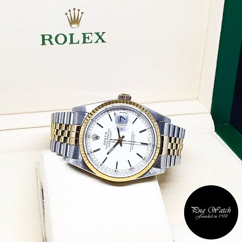 Rolex Oyster Perpetual 18K Half Gold White Indexes Datejust REF: 16233