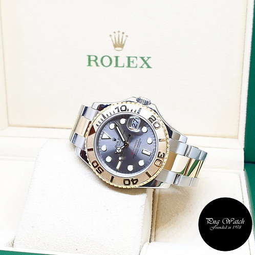 Rolex Oyster Perpetual 18K Half Yellow Gold Grey 35mm Yachtmaster REF: 168623