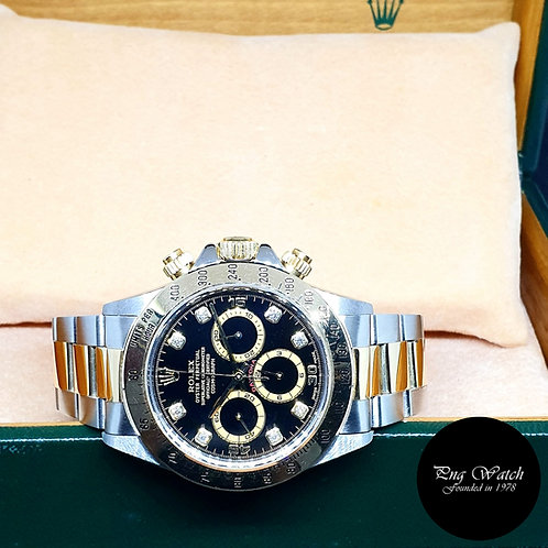 Rolex 18K Half Gold Zenith Movement Black Diamonds Daytona REF: 16523