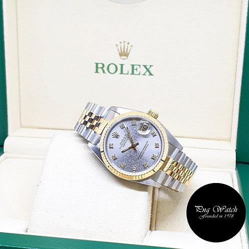 Rolex 31mm Perpetual 18K Half Gold Grey Computer Diamonds Datejust REF: 68273