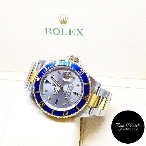 (NOT AVAILABLE) Rolex 18K Gold Grey Serti Diamonds Submariner Date REF: 16613