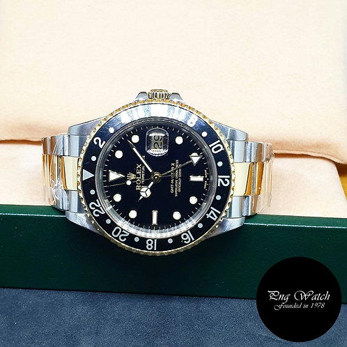 Rolex 18K Half Gold Black GMT Master 2 REF: 16713