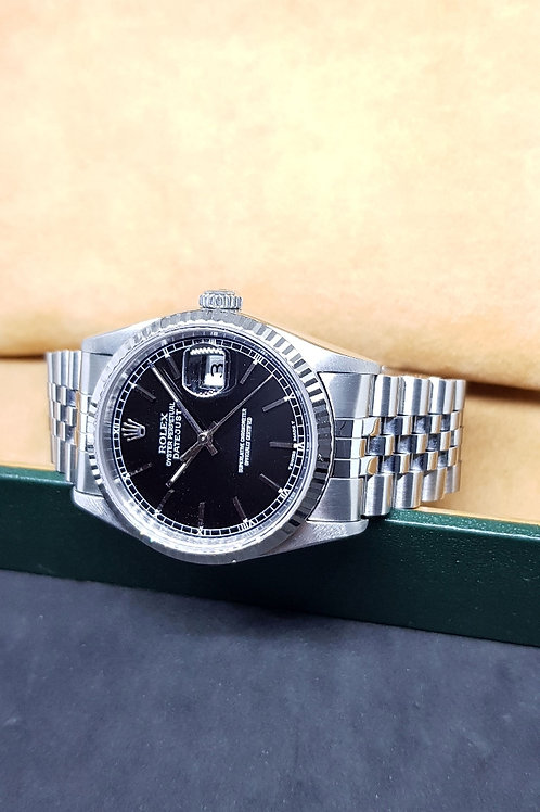 Rolex Oyster Perpetual Black Index Datejust REF: 16234