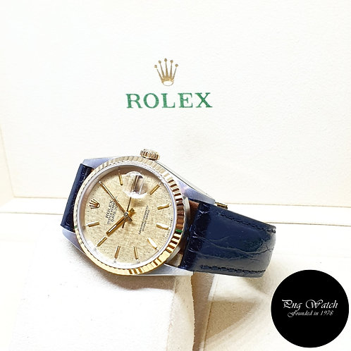 Rolex Oyster Perpetual Champagne Indexes Datejust on Leather REF: 16233 (X)