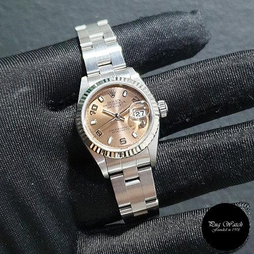 Rolex Perpetual 26mm Steel Salmon Pink Arabic Lady Datejust REF: 79174 (2)